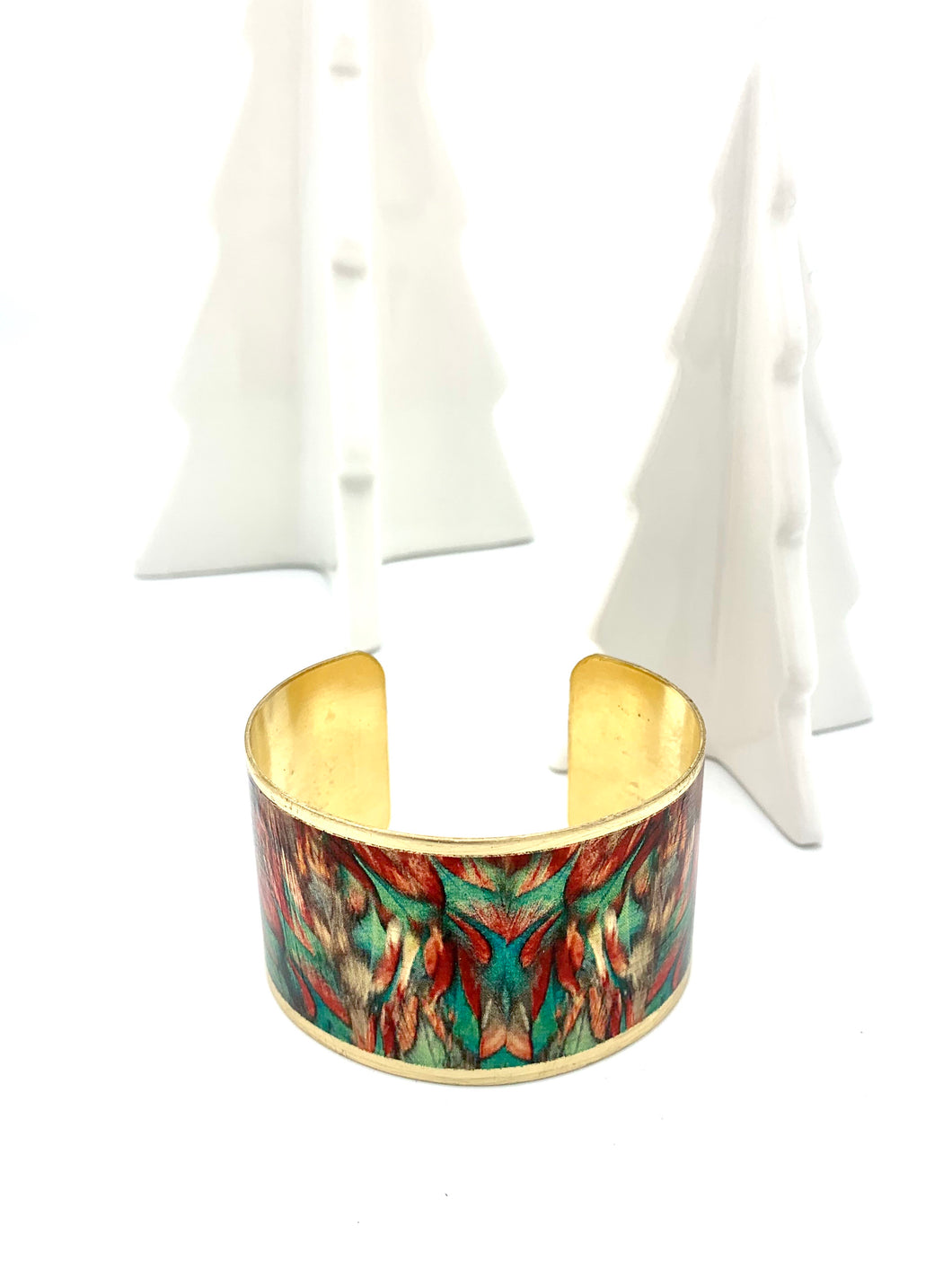 Green, Red Abstract Design Cuff Bracelet, Brass