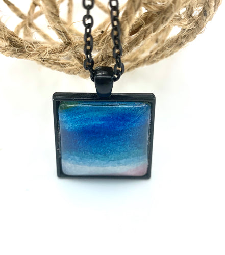 Blue Watercolor Necklace in a Black Setting