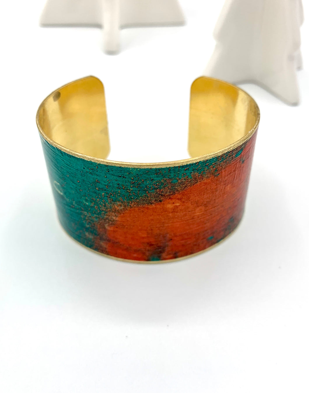 Green, Pink, Red Abstract Design Cuff Bracelet, Brass