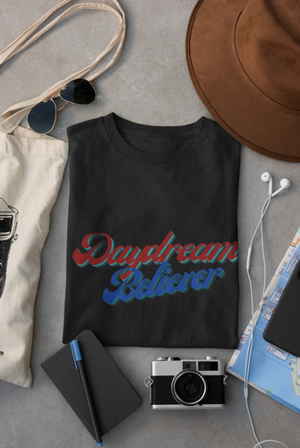 Daydream Believer Blue and Red Woman T-Shirt XS to XXXL Comfy Fit