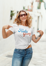 Load image into Gallery viewer, Feelin' Groovy Blue Red Funky 70's Retro Design T-Shirts