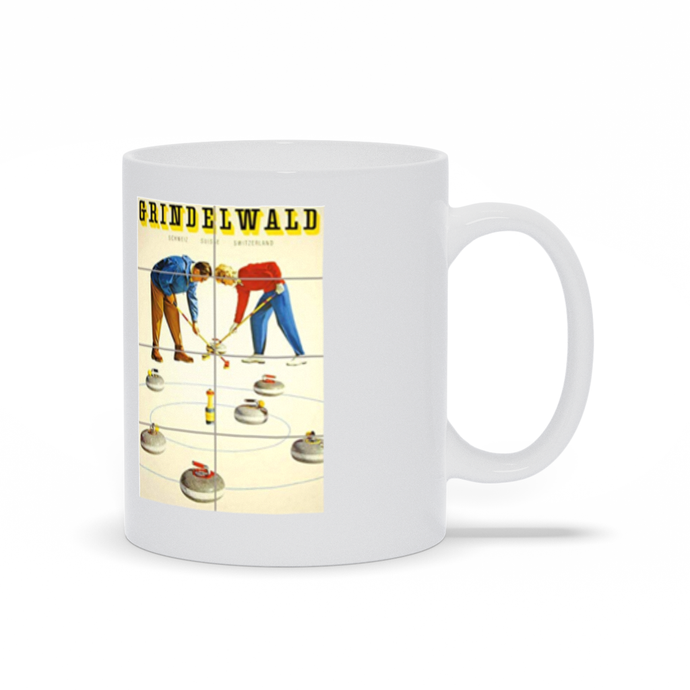 Curling, Vintage Poster Mugs