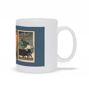 Vintage WW1 Womens Land Army Poster Propaganda Mugs
