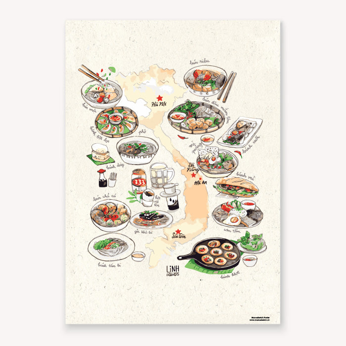 Poster Viet Nam Food Map Linh Ichigo Monosketch