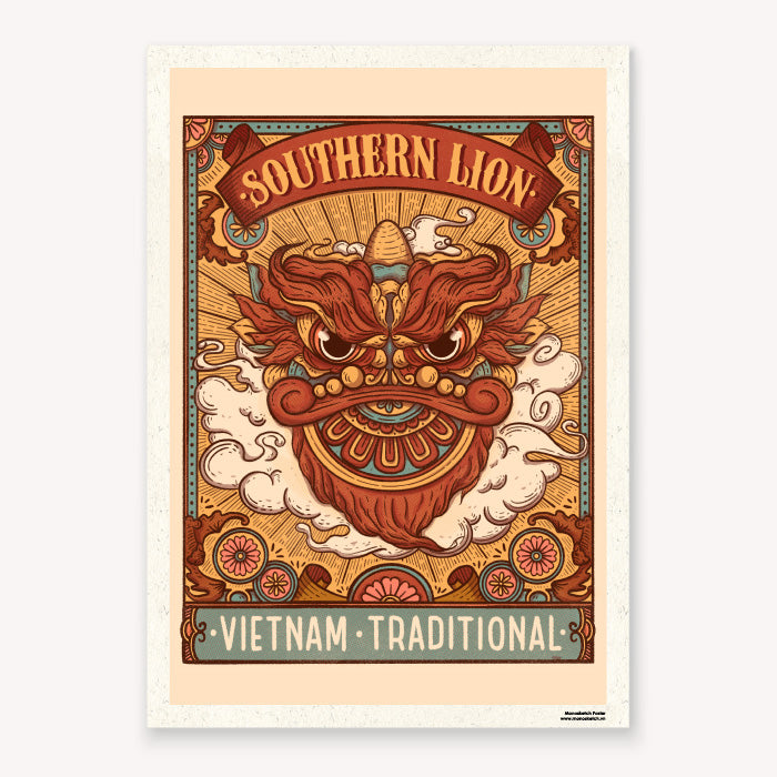 poster southern lion zen monosketch