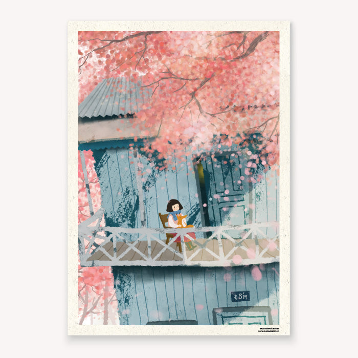 monosketch poster cherry blossom - dom illustration