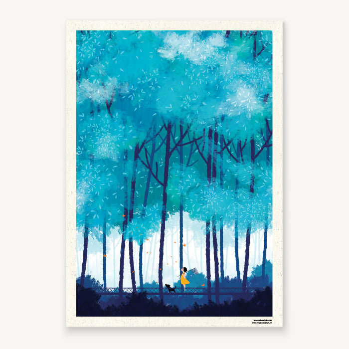 Poster Summer Blue Tranh Poster Monosketch Dom Illustration