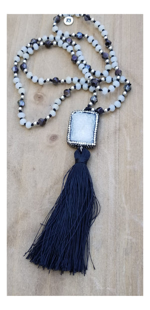 Natural White Druzy Gemstone with Pave Outline  Crystal Bead Tassel. - Flash3 Boutique