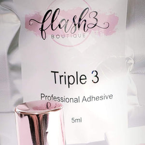 Our Triple three Lash Adhesive is our most popular adhesive; it is a fast-drying adhesive great for classic or volume eyelash extensions, 5/6  week retention maximum hold.   size 5ml
