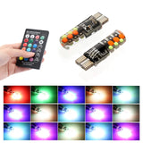 T10 RGB COB 12SMD Clearance lights Colorful Multi Mode Car Light Bulbs With Remote Controller