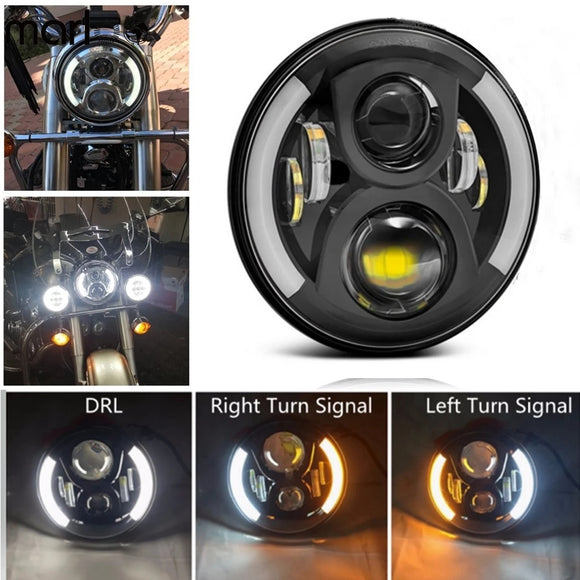 Motorcycle 60W 7 Inch LED Projector Headlight Left Right Amber Turn Signal White DRL Headlmap 7