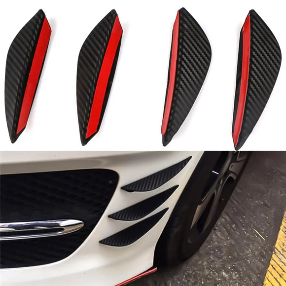 4Pcs/set Carbon Fiber Fit Front Bumper Lip Splitter Fin Air Knife Auto Body Kit Car Spoiler Valence Chin Accessory