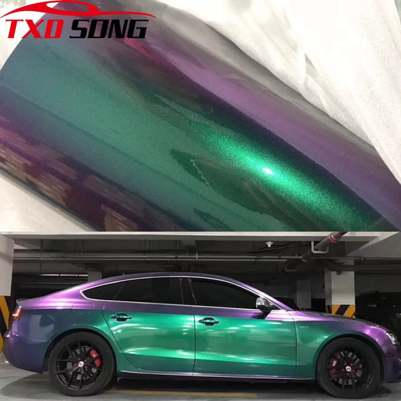 Premium Gloss Chameleon Pearl Glitter Metallic Green purple Vinyl Car Wrap Foil With Air Release Diamond Car Sticker Decal