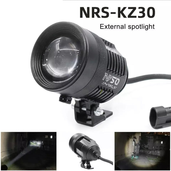 HJG KZ-30 1 Set Motorcycle Spotlight Telescopic Adjustment Laser Barrel External Spotlight Integrated LED 30W Lamp Easy to Install