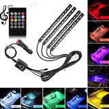 4Strips 5050 RGB Multicolor 12 LED Car Interior Lighting Music Rhythm Light Sound Control Atmosphere Bulb Cigaratte Lighter 12V