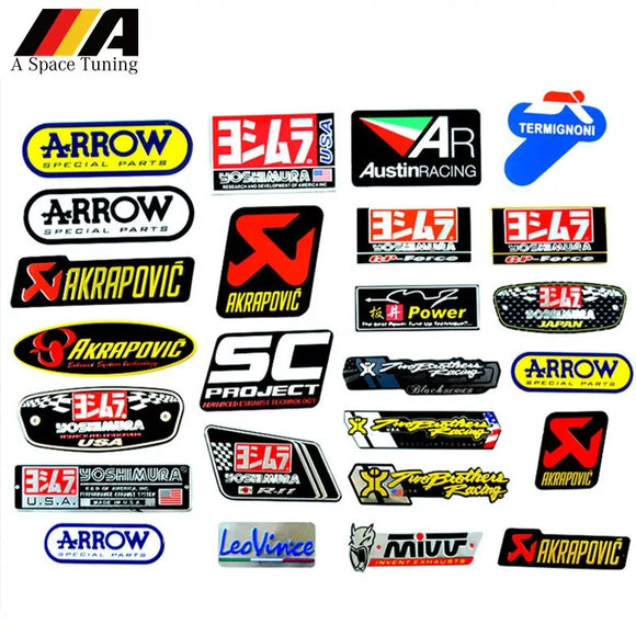 3D Aluminum Heat-resistant Motorcycle Exhaust Pipe Decal Sticker For Scorpio Yoshimura Akrapovic MIVV Leovince Two Brother Arrow