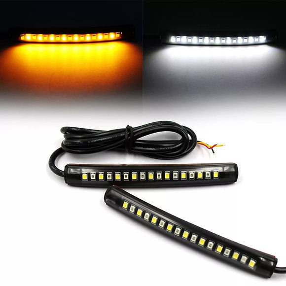 2pcs/set  Motorcycle 17LED Flexible Strip Light Turn Signal Indicator White+Amber