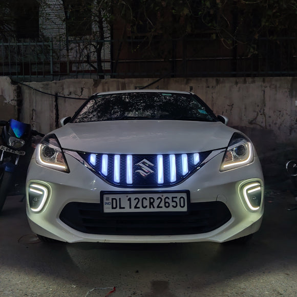 GTR Style LED Front Grill Compatible with Maruti Suzuki Baleno (2019-2020 Present) (GTR Type)