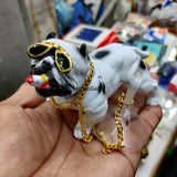 Bulldog Dog Figurine (14 cm X 7 cm) - Car Interior Decoration Accessories Decorative Items for Car Dashboard