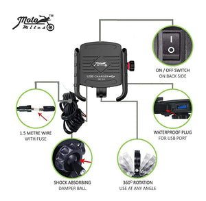 Jaw-Grip Waterproof Bike/Motorcycle/Scooter Mobile Phone Holder Mount with Fast USB 3.0 Charger, Ideal for Maps and GPS Navigation (Black)