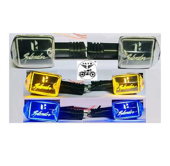Hero Splendor Bike Indicator Lights (Pack of 4 Indicators) Colors - Blue & Yellow