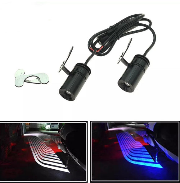 Pair LED Warning Signal Universal Angel Wings Car Motorcycle Welcome Shadow Decoration Light Lamp Blue