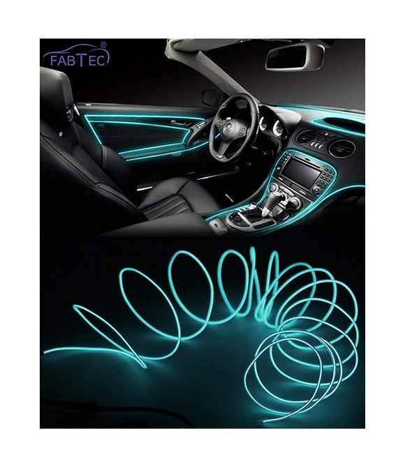 EL Wire Car Interior Light Ambient Neon Light For All Car Models With Adapter (5 Meter) (ICE BLUE)