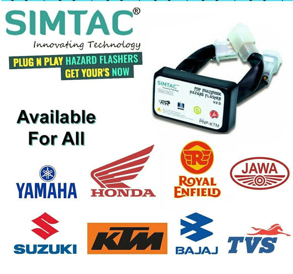 SIMTAC Hazard Flesher Waterproof Suitable With All Bikes 20 Patterns Plug & Play Hazard Flasher Module with Control Switch