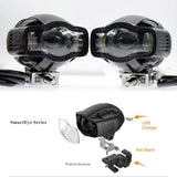 Universal Motorcycle Fog light 22-40mm IP65 LED Headlight lamp With USB Charger