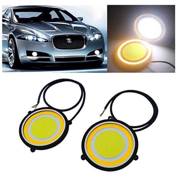 Car Led Cob Drl Daytime Running Light Round Fog Lamp (Pack of 2, Yellow)
