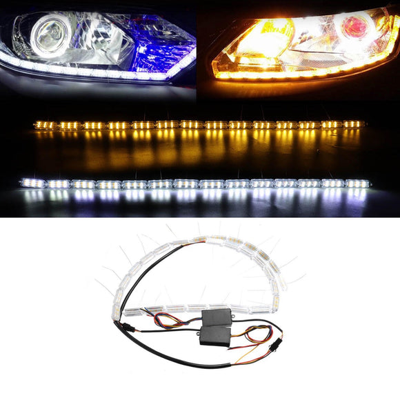 2Pcs Switchback Car Flexible LED Strip Light DRL Sequential Flow Turn Signal Lamp 3 Colors