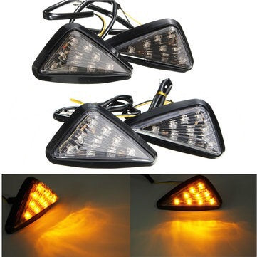 Pair Motorcycle 11 LED Turn Signals Lights Indicators Triangle Abmer - Smoke