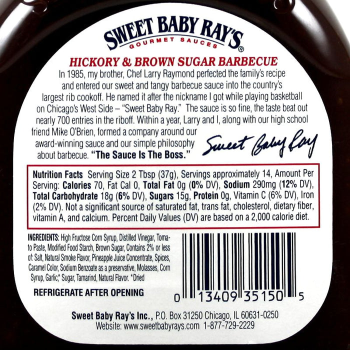 Sweet Baby Ray's BBQ - Hickory Brown Sugar (18 OZ)