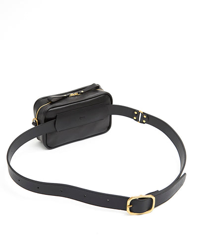 Waist Bag Soft with Shoulder Strap - S / Smooth Black - (ki:ts)