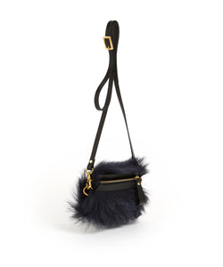 Fold Purse with Shoulder Strap / Navy Shearling & Black - (ki:ts)