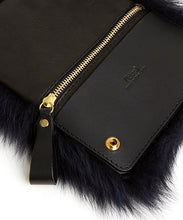 Load image into Gallery viewer, Fold Purse with Shoulder Strap / Navy Shearling & Black - (ki:ts)