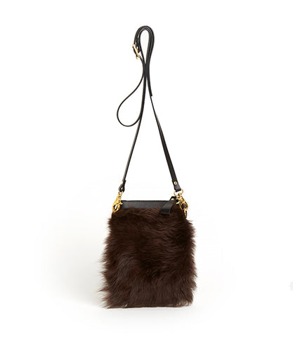 Fold Purse with Shoulder Strap / Brown Shearling & Black - (ki:ts)