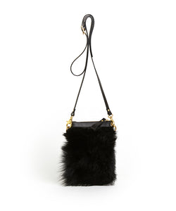 Fold Purse with Shoulder Strap / Black Shearling & Black - (ki:ts)