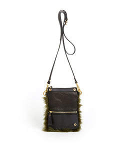 Fold Purse with Shoulder Strap / Olive Shearling & Black - (ki:ts)