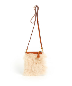 Fold Purse with Shoulder Strap / Biscuit Shearling & Tan - (ki:ts)