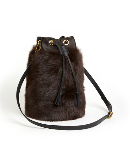 Drawstring Shearling Bag - L / Brown Shearling & Black - (ki:ts)