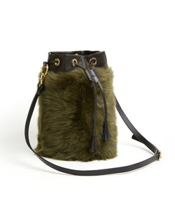 Drawstring Shearling Bag - L / Olive Shearling & Black - (ki:ts)