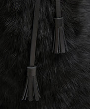 Load image into Gallery viewer, Drawstring Shearling Bag - L / Black Shearling & Black - (ki:ts)