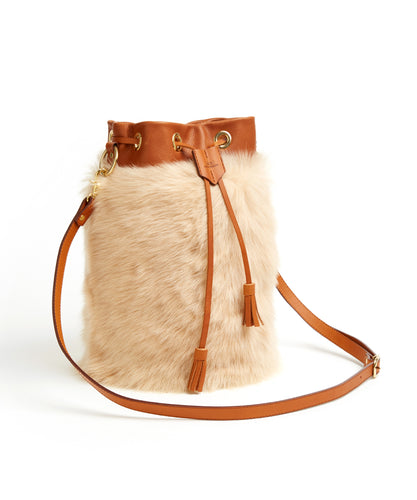 Drawstring Shearling Bag with 2 Way Shoulder Strap - L / Biscuit Shearling & Tan - (ki:ts)