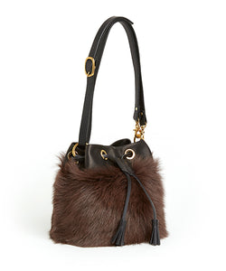 Drawstring Shearling Bag - S / Brown Shearling & Black - (ki:ts)