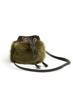 Drawstring Shearling Bag - S / Olive Shearling & Black - (ki:ts)