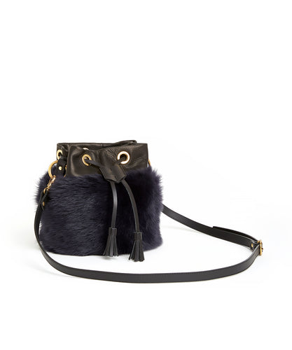 Drawstring Shearling Bag - S / Navy Shearling & Black - (ki:ts)