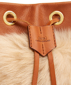 Drawstring Shearling Bag - S / Biscuit Shearling & Tan - (ki:ts)