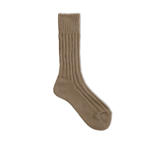 Cased heavy weight plain socks / beige - decka