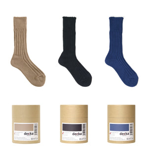 Cased heavy weight plain socks / navy - decka